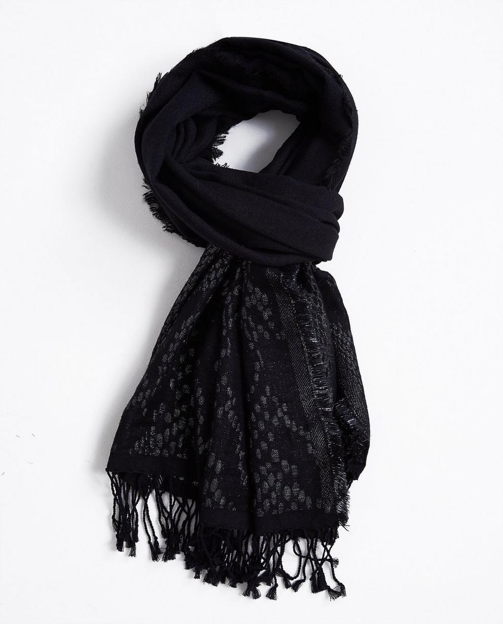 Écharpe noire - avec un fil argenté tissé - JBC